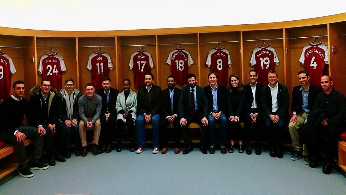 Members of the Peak team (Mylo Portas and Marc Leathem, 4th and 5th from left) as part of the Arsenal Innovation Lab